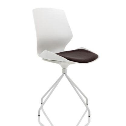 An Image of Florence Spindle Fabric Office Visitor Chair In Dark Grey