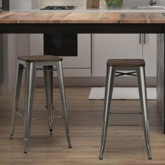An Image of Fusion Antique Gun Metal Backless Bar Stool In Pair