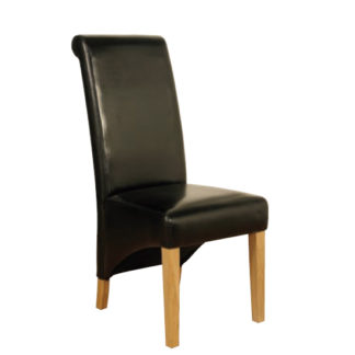 An Image of Rocco PU Leather Dining Dining Chair In Black