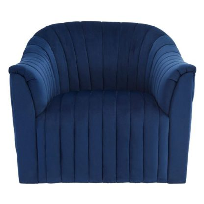 An Image of Larawag Velvet Armchair In Deep Blue