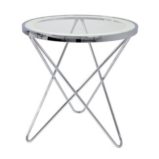 An Image of Theo 2 Lamp Table In Clear Glass Top And Chrome