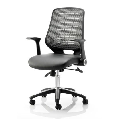 An Image of Relay Silver Leather Office Chair
