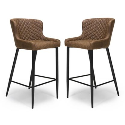 An Image of Charlie Antique Brown Leather Bar Stool In Pair With Metal Base