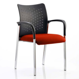An Image of Academy Office Visitor Chair In Tabasco Red With Arms