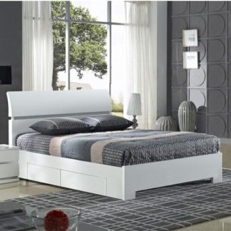 An Image of Widney Wooden King Size Bed In White High Gloss With 4 Drawers