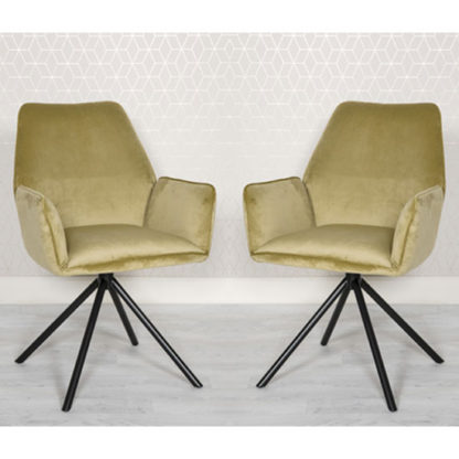 An Image of Uno Citron Velvet Fabric Dining Chairs In A Pair