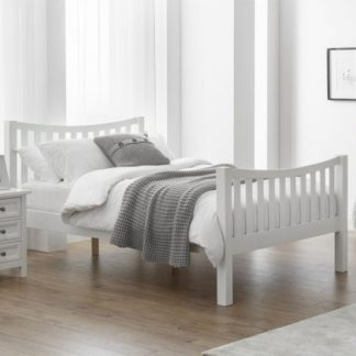 An Image of Madison Curved High Foot End Double Bed In Surf White
