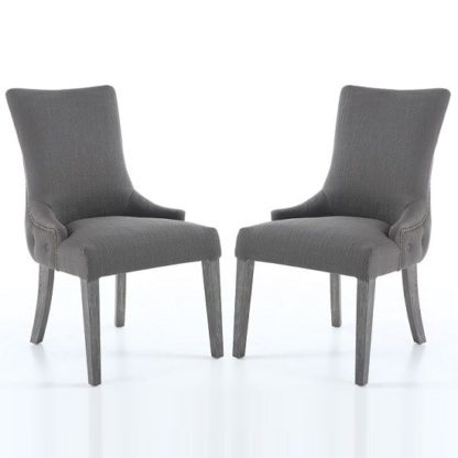 An Image of Blake Fabric Dining Chair In Grey With Wooden Legs In A Pair