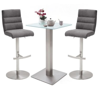 An Image of Soho White Glass Bar Table With 2 Hiulia Fabric Anthracite Stool