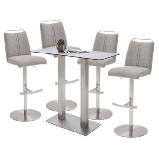 An Image of Soho Glass Bar Table With 4 Giulia Ice Grey Fabric Stools