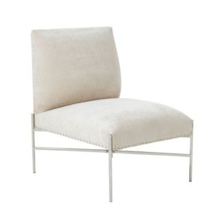 An Image of Ginnie Fabric Accent Chair In Cream With Stainless Steel Legs