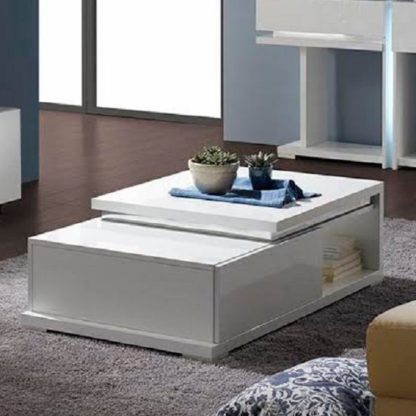 An Image of Nicoli Coffee Table In White High Gloss With 1 Drawer