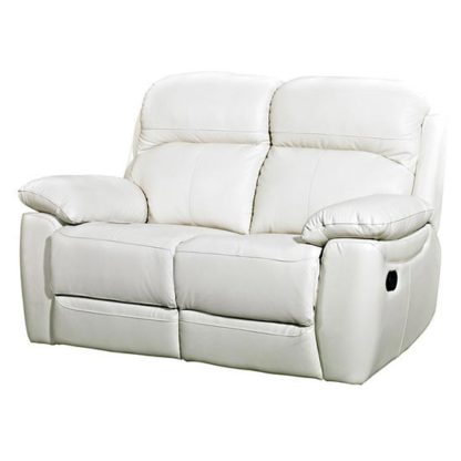 An Image of Aston Leather 2 Seater Fixed Sofa In Ivory