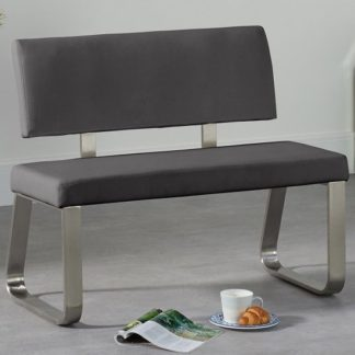 An Image of Celina Small Dining Bench In Grey Faux Leather
