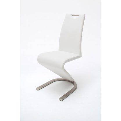 An Image of Amado Z White Faux Leather Metal Swinging Dining Chair