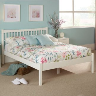 An Image of Alice Hevea Wooden Double Bed In Opal White