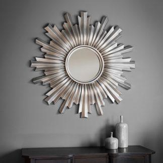 An Image of Safari Decorative Wall Mirror Round In Silver