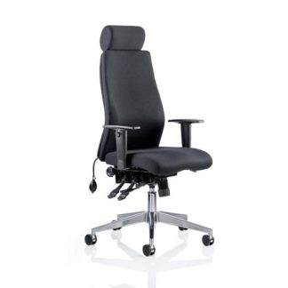 An Image of Penza Office Chair In Black With Headrest And Arms