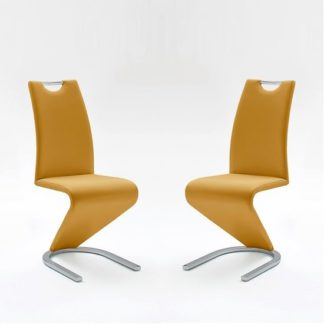 An Image of Amado Dining Chair In Curry Faux Leather In A Pair