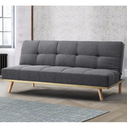 An Image of Soren Fabric Sofa Bed In Grey With Wooden Legs