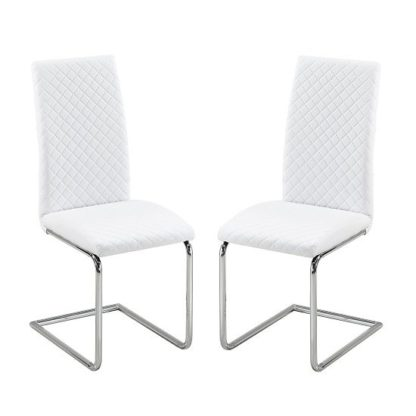An Image of Ronn Dining Chair In White Faux Leather In A Pair