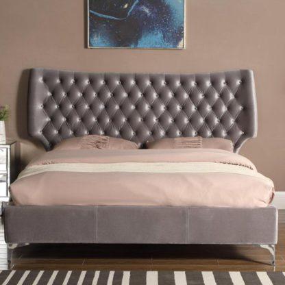 An Image of Ashbourne Velvet Upholstered Double Bed In Grey