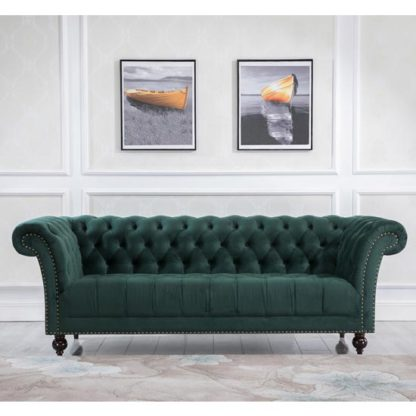 An Image of Chester Fabric 3 Seater Sofa In Midnight Green Velvet