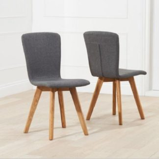 An Image of Javelin Dining Chairs In Charcoal Grey Fabric In A Pair