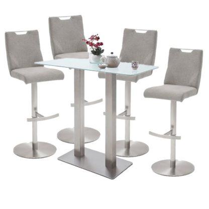 An Image of Soho White Glass Bar Table With 4 Jiulia Ice Grey Fabric Stools
