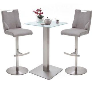 An Image of Soho White Glass Bar Table With 2 Jiulia Ice Grey Stools