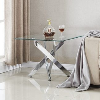 An Image of Daytona Glass Lamp Table Square In Clear With Chrome Legs