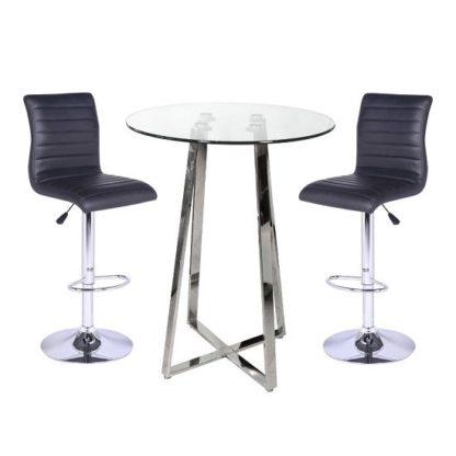 An Image of Poseur Bar Table In Clear Glass With 2 Ripple Black Bar Stools