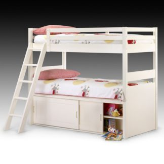 An Image of White Kids Bunk Bed with Storage