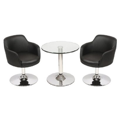 An Image of Belize Glass Bistro Table In Clear And 2 Black Bucketeer Chairs
