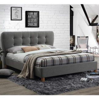 An Image of Stockholm Fabric King Size Bed In Grey