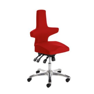 An Image of Stacy Home Office Chair In Cherry With Chrome Base