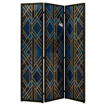 An Image of Kitalpha Wooden Folding Patterned Blue And Gold Room Divider