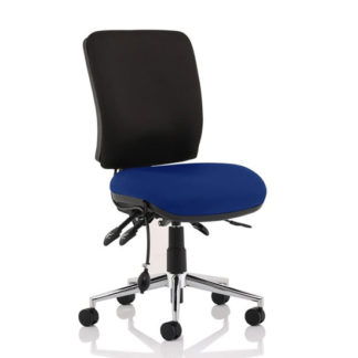 An Image of Chiro Medium Back Office Chair With Stevia Blue Seat No Arms
