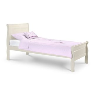 An Image of Lovette Wooden Single Bed In Stone White Lacquer