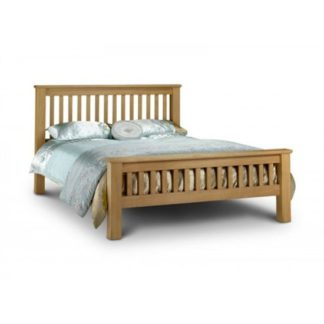 An Image of Amsterdam 135Cm Wooden Bed In Oak Finish