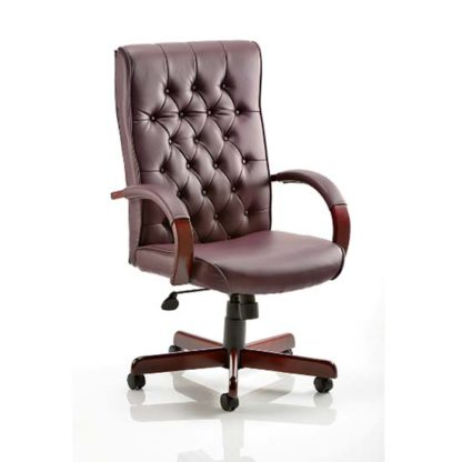 An Image of Chesterfield Burgundy Colour Office Chair
