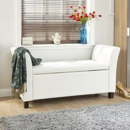 An Image of Charter Ottoman Seat In White Faux Leather With Wooden Feet