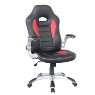 An Image of Witney Home Office Chair In Black And Red Faux Leather