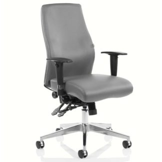 An Image of Onyx Ergo Leather Posture Office Chair In Grey With Arms