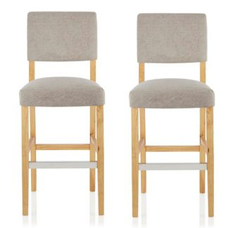 An Image of Vibio Bar Stools In Silver Fabric And Oak Legs In A Pair