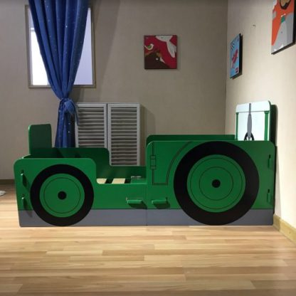 An Image of Rowan Tractor Ted Junior Toddler Bed In Green