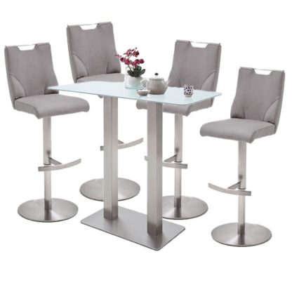 An Image of Soho White Glass Bar Table With 4 Jiulia Ice Grey Leather Stools