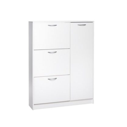 An Image of Swift Wooden Shoe Cabinet In White With 3 Flaps And 1 Door