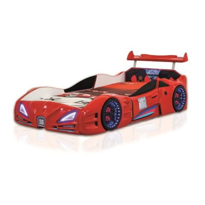 An Image of Buggati Veron Childrens Car Bed In Red With Spoiler And LED