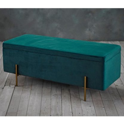 An Image of Lola Storage Ottoman In Teal